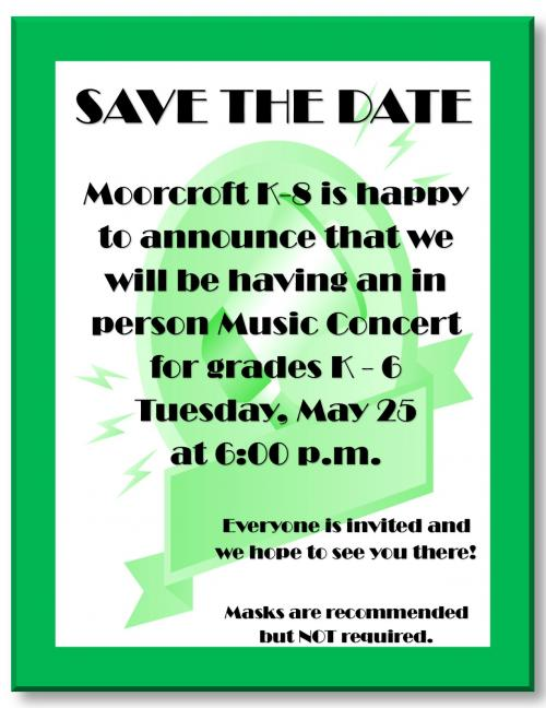 MK8 Music Concert May 25 at 6:00 p.m. will feature grades K-6