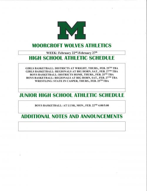 Athletic Schedule for the week of February 22nd thru February 27th