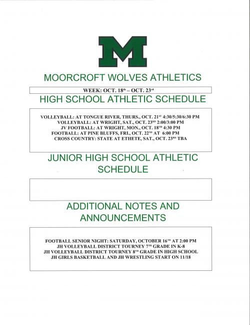 Weekly Athletic Schedule for the week of October 18 to October 23