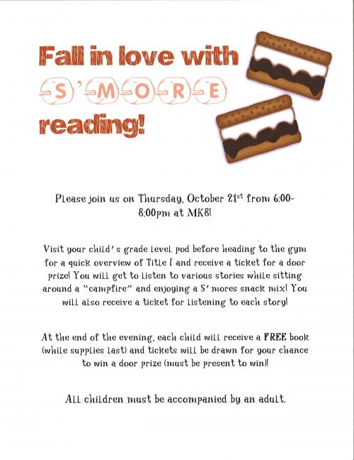 Literacy Night October 21 from 6:00 to 8:00 p.m.