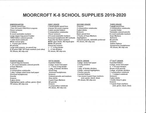 2019-2020 MK-8 School Supply List