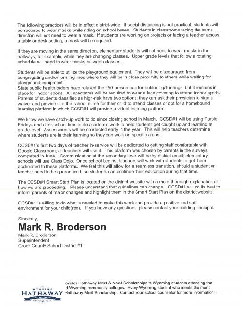 Letter from Superintendent Mark Broderson about expectations and requirements for school starting Aug. 19