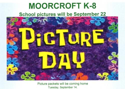 School Pictures are September 22.  Picture packets will come home September 14