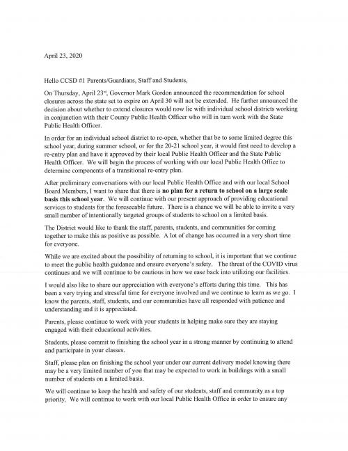 April 24 letter to families from Mr. Broderson about school closure