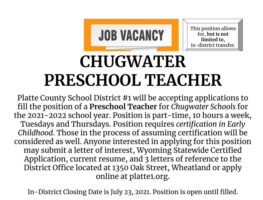 Chugwater Preschool Teacher