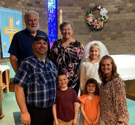 Photo of my family at daughter's first communion.
