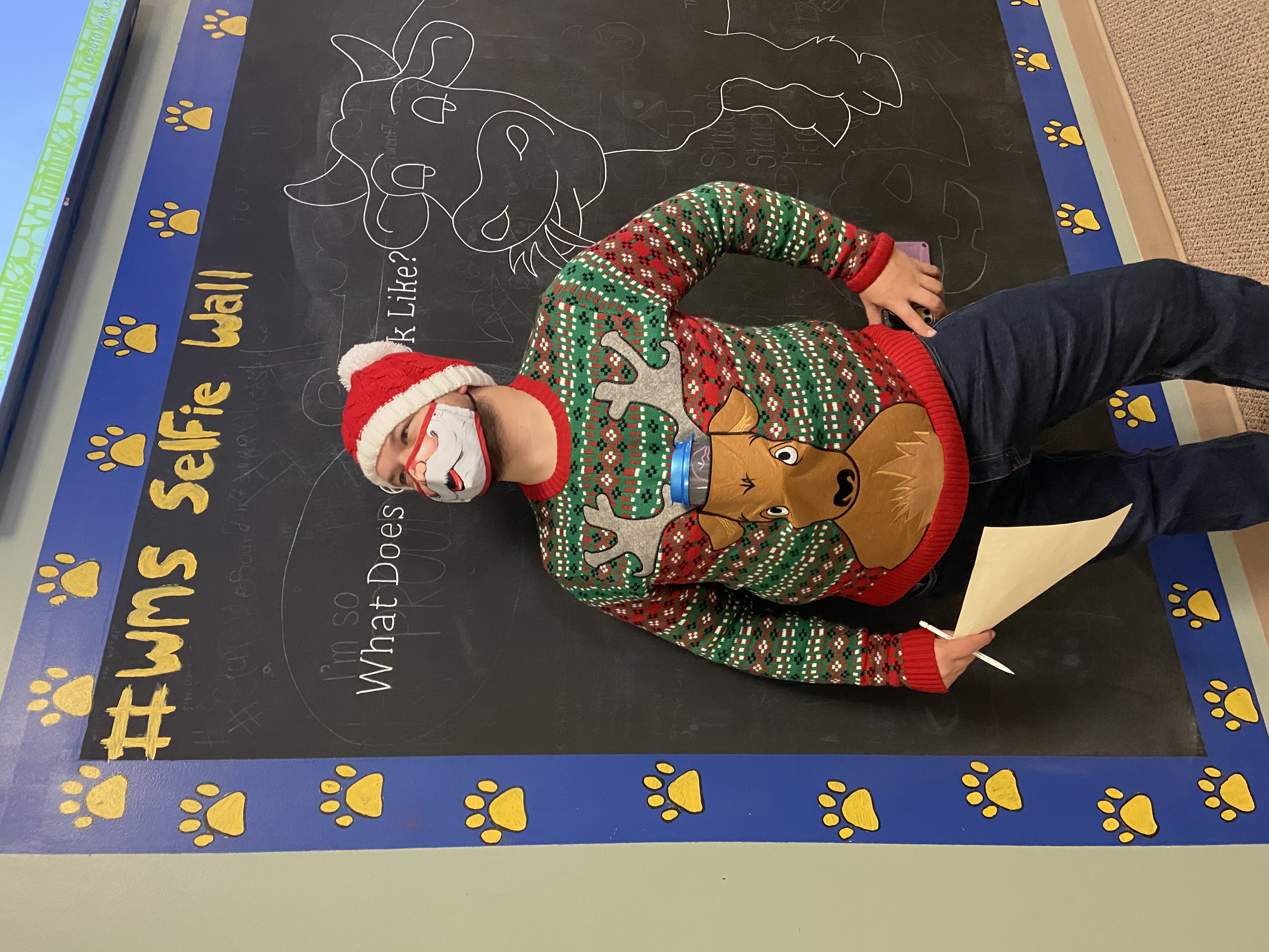 Substitute teacher, Sawyer took home 2nd place in the WMS Ugly Sweater Contest.