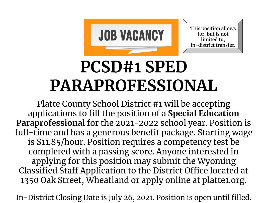 PCSD#1 Paraprofessional