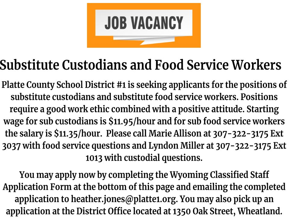 Substitute Custodians & Food Service Workers