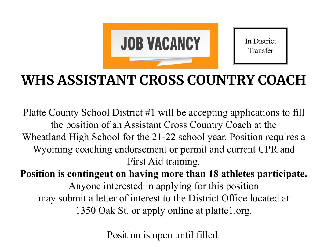 WHS Assistand Cross Country Coach