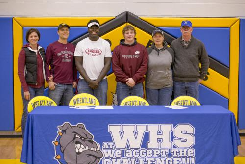C. Iacovetto and W. Crane signed their national letters of intent to play football at Chadron State College on Wednesday the 6th of February. They were joined by their parents as well as Head football coach Cody Bohlander and Superintendent Dennis Fischer