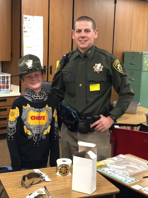 Ms. Finch's class had a special visitor, who told students about how to stay safe when traveling in a vehicle.