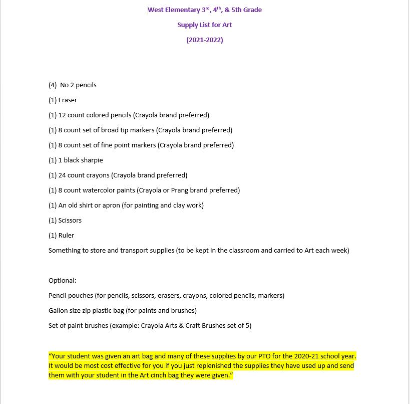 West Elementary 3rd ~ 4th ~ 5th Grade Art Supply List 2021-2022