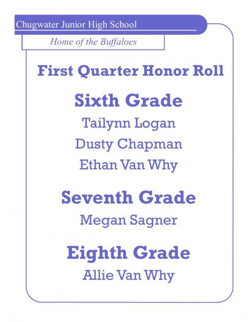 FIRST QUARTER HONOR ROLL