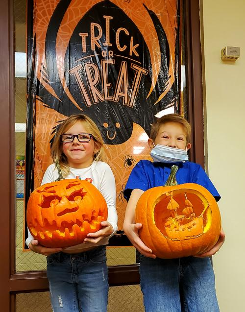 Elementary Students with pumpkins