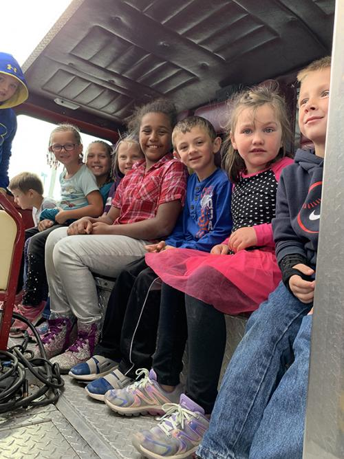 kids in Fire truck