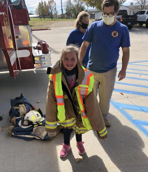 Student learning fire safety