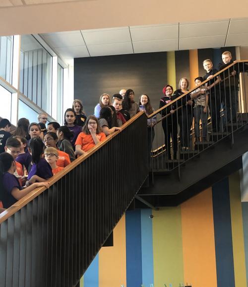 kids on stairway