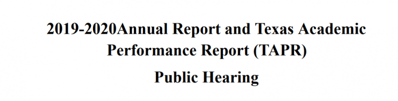 2019-2020 Annual TAPR Public Hearing