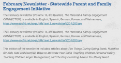 Thumbnail Image for Article February Newsletter:  Parent and Family Engagment Initiative
