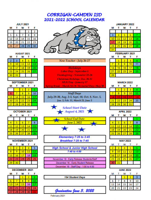 21-22 School Calendar Approved