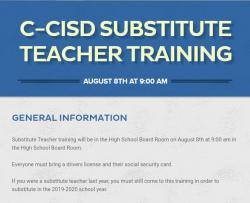 Substitute Teacher Training Scheduled August 8