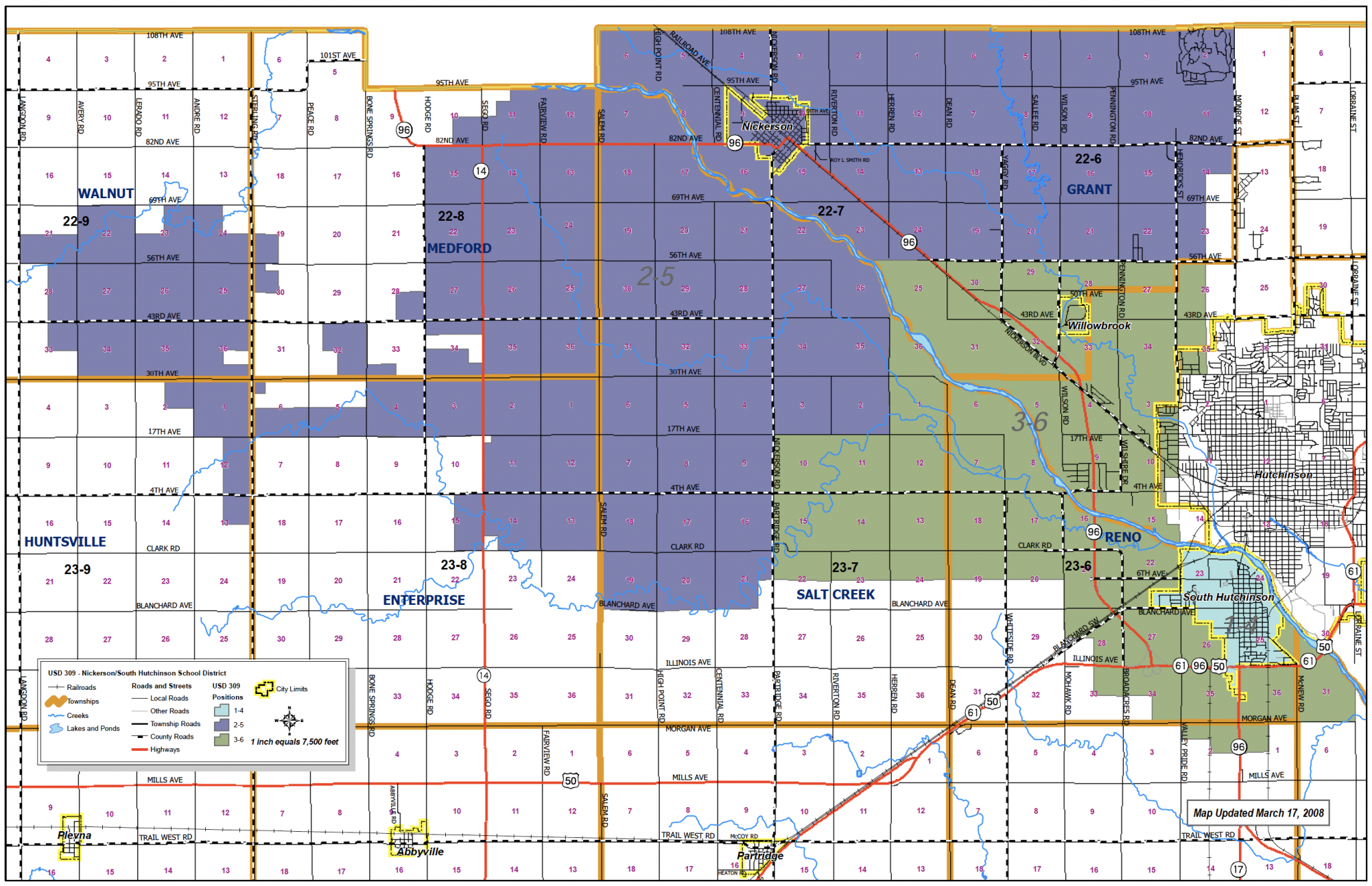 Map of school district boundaries
