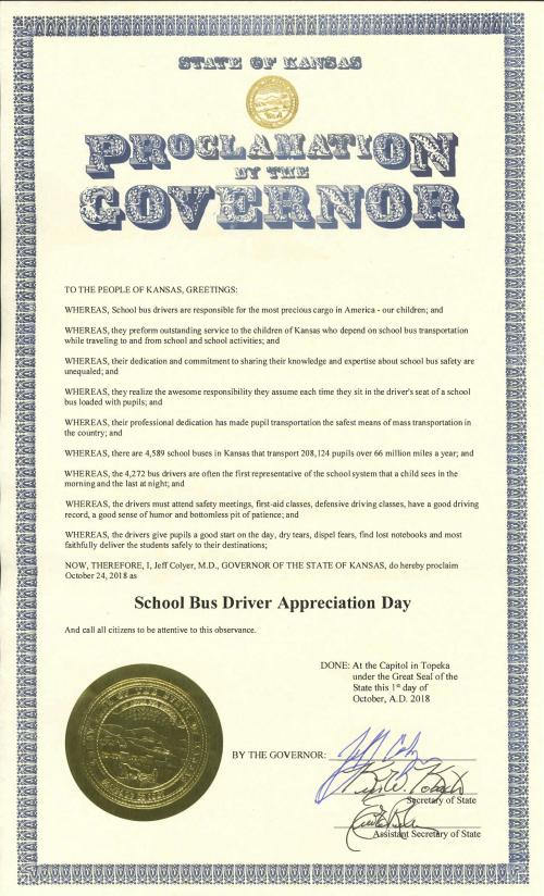 Official Governor Bus Driver Appeciation Certificate