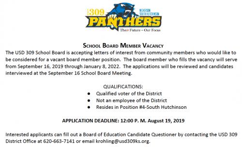 Board Member Vacancy notice