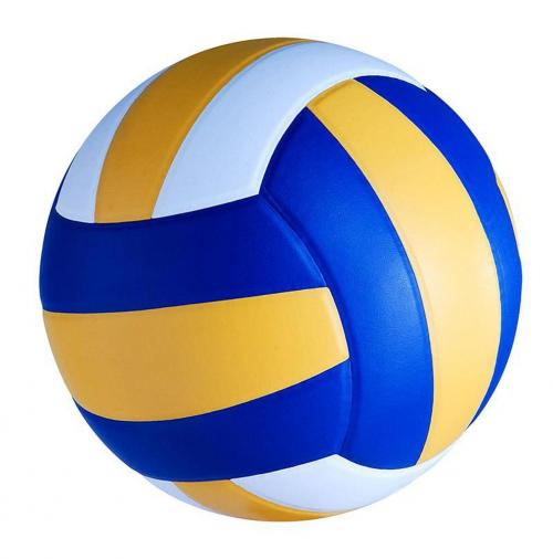 Blue, yellow, and white striped volleyball.
