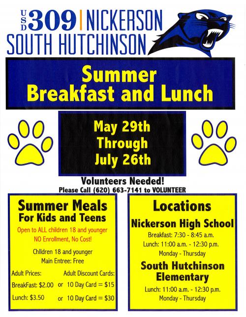 SFSP flyer listing details of free summer meal program