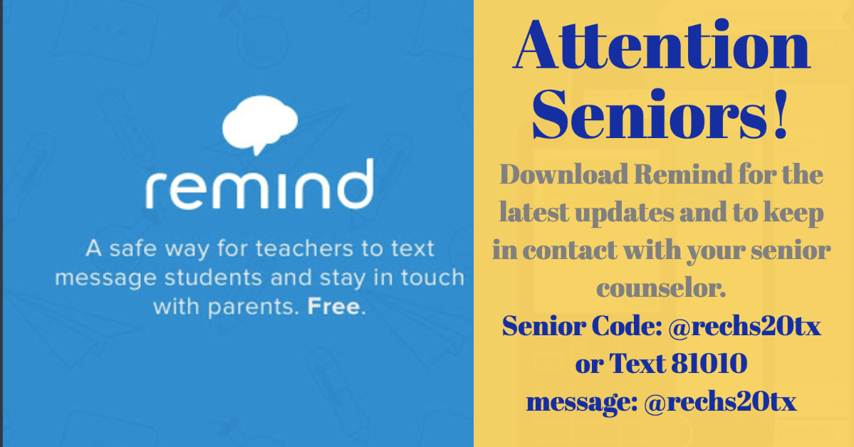 Join Remind to receive information from your Counselors.