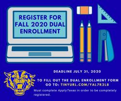 Register for Fall 2020 Dual Enrollment