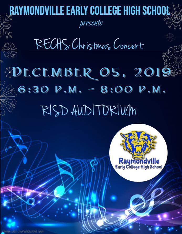 Band Christmas Concert December 5, 6:30 - 8.