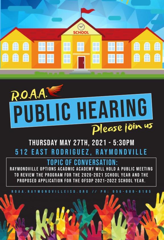 ROAA Public Hearing, Thursday, May 27 @ 5:30