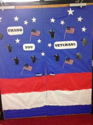 Library doors for the door decorating contest for Veterans Day