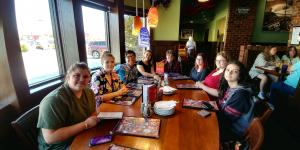Bixby Demo Day - Newbies and Presenters enjoy dinner at Hideaway Pizza.