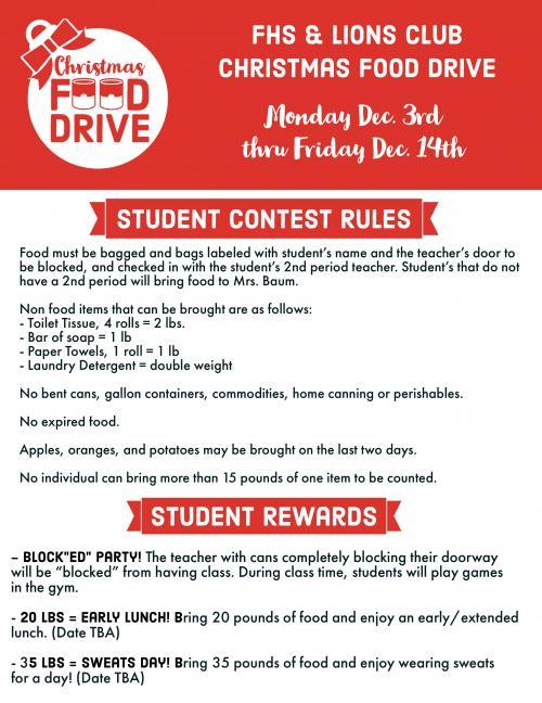 Food Drive Rules