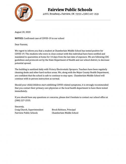Covid Letter 8/20/20