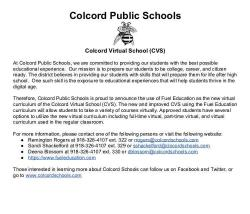 Colcord Virtual School press release