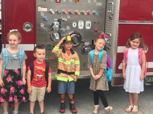 2018-19 K students getting their first ride to school.  On a Fire Engine, baaabbbyyyy!!!