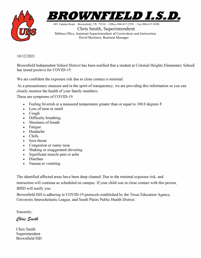 Covid 19 Response Letter 10/12/21