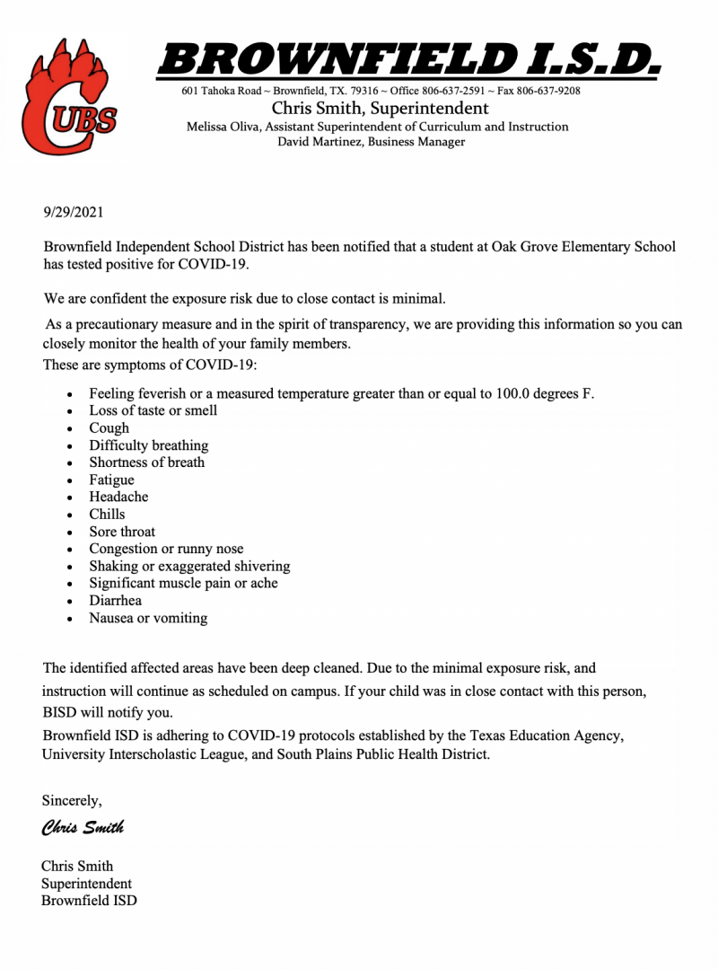 Covid 19 Response Letter 9/29/21