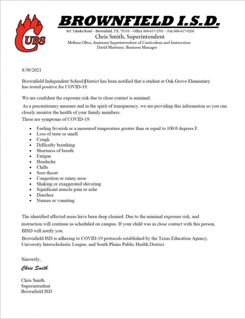 COVID 19 Response Letter 8/30/21