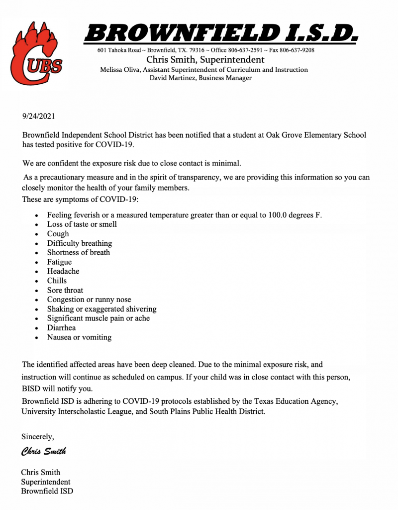 Covid 19 Response Letter 9/24/21