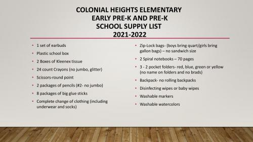 Colonial Heights Supply List