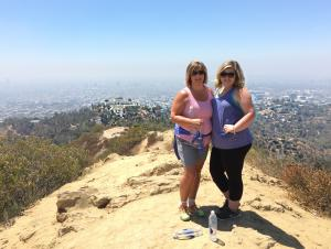 My daughter and I at the top of the Hollywood Hills in California
