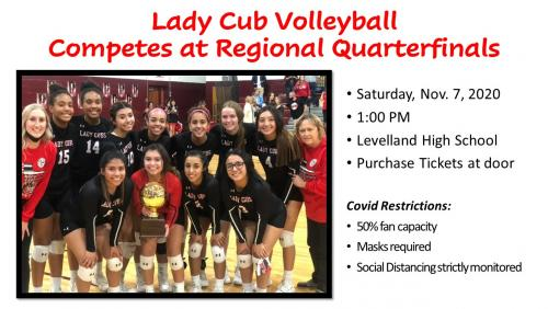 Lady Cub Volleyball with Bi-District Champion trophy