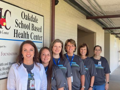 Left to Right- Jessica Thibodeaux, CPNP-AC/PC, Sadie Fuselier, MA, Ashley Wheat, BSN,RN,    Margaret Dupre (receptionist), Sharon Rush (Medical Director), Jesse Deville, LCSW