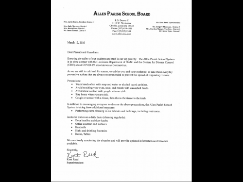 Coronavirus Letter from School Board